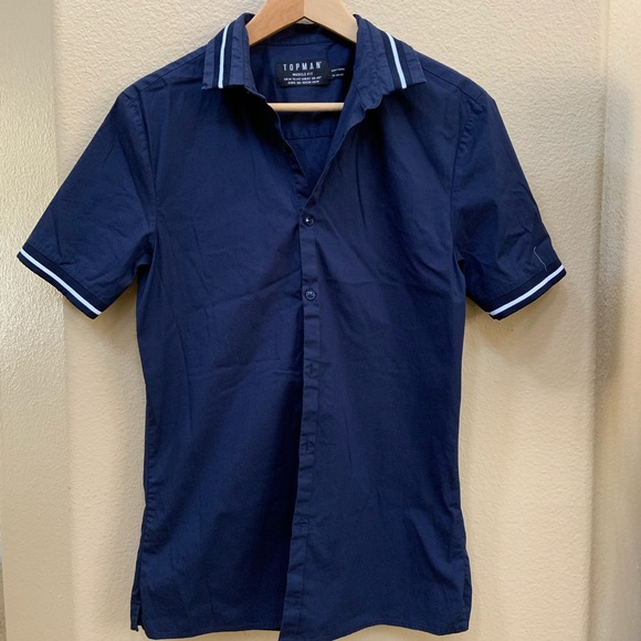 7cceba2b Topman Shirts | Muscle Fit Short Sleeve Navy Button Up | Poshmark